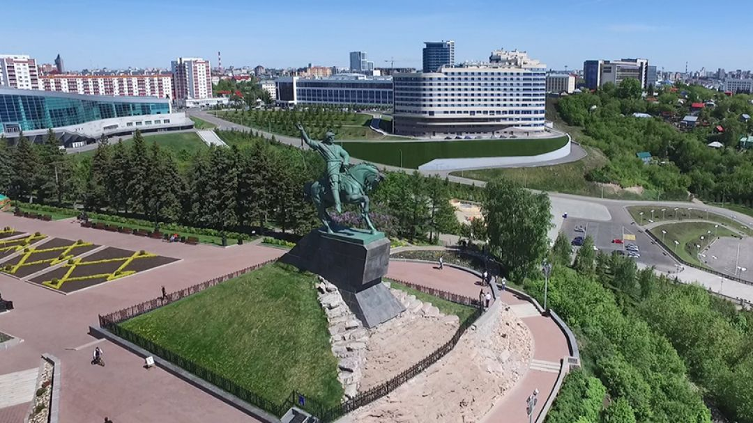 Уфа - восточная точка Европы (зима) в Уфе
