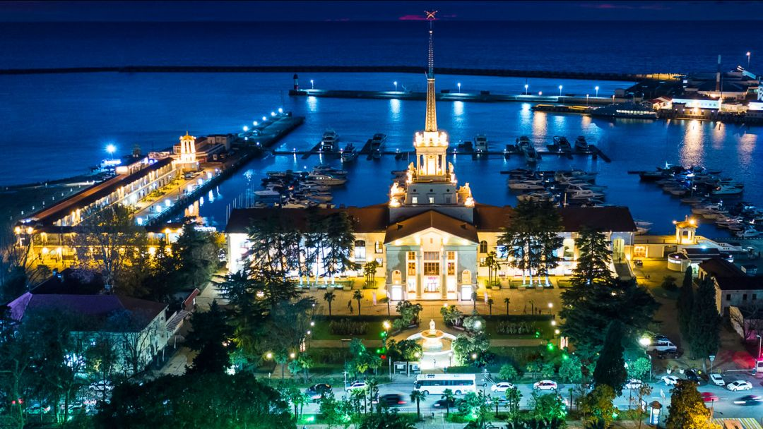 Вечерний Сочи – гора Ахун – Морской порт в Сочи